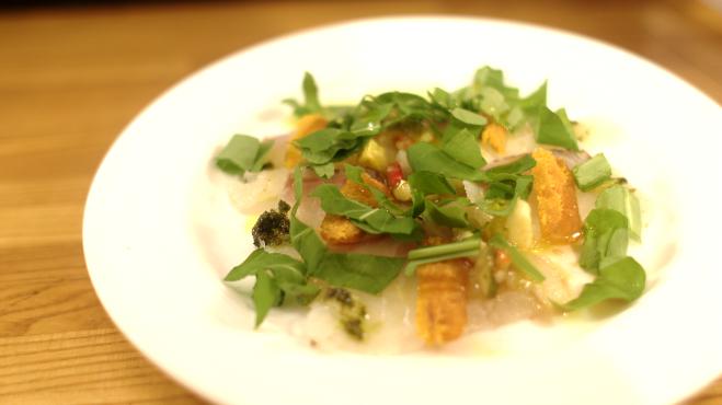 真鯛とカラスミのカルパッチョ